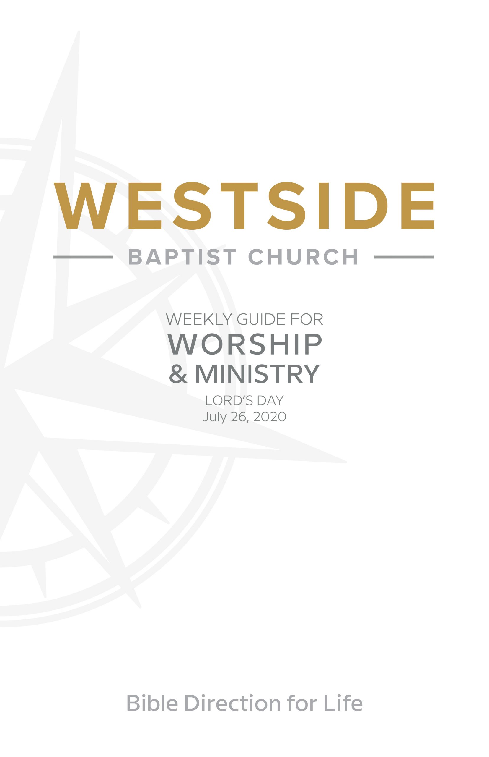 Weekly Guide for Worship and Ministry — July 26
